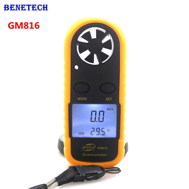 Digital Hand-held Wind Speed Gauge Meter GM816 30m/s (65MPH) Pocket Smart Anemometer Air Wind Speed Scale Anti-wrestling Measure(China (Mainland))