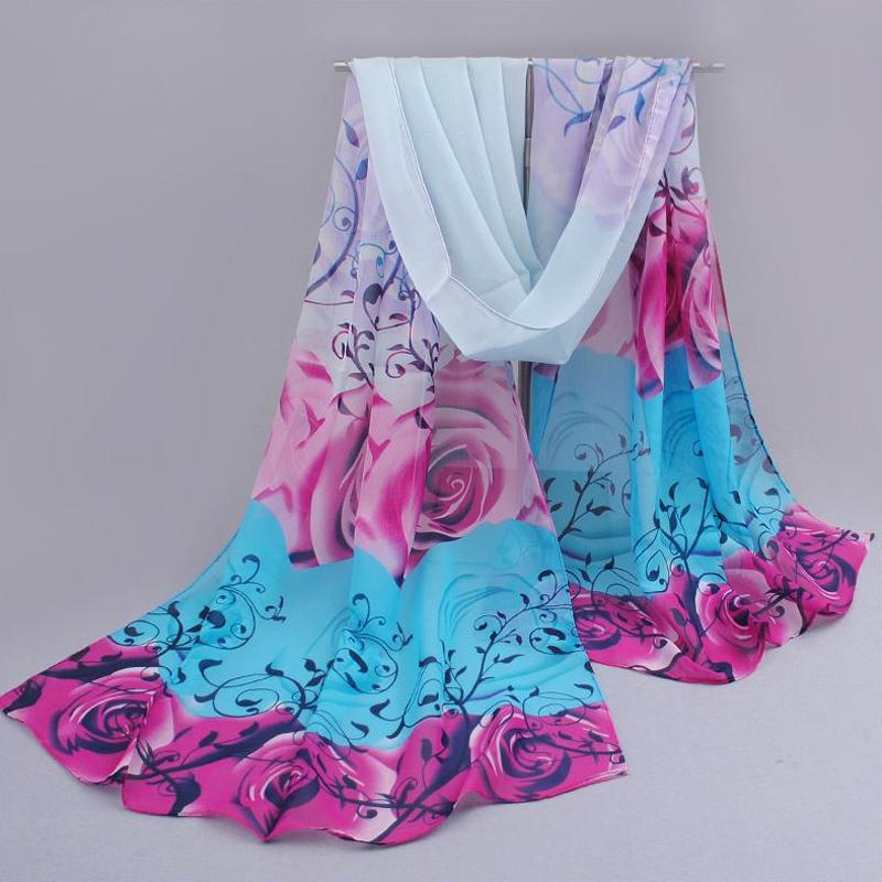 from india promotion 2014 rose print chiffon scarves woman thin shawl turban belt wholesale hijab fashion