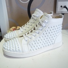 2015 summer style France Men women red bottom Louis spikes high top leisure sneakers,leather suede unisex fashion rivets shoes(China (Mainland))