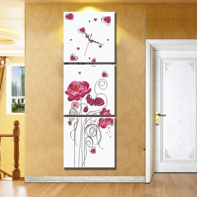 FBH030614 Precision printing cross stitch vertical triptych wall clock new design living room entrance decoration(China (Mainland))