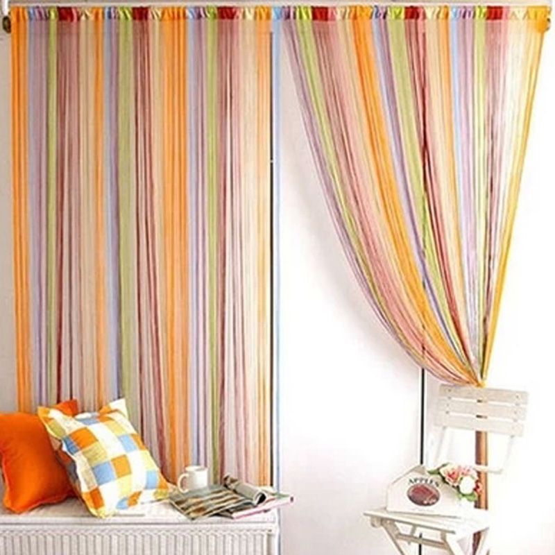 New mixed colors line string window curtain for a shop for Curtain display ideas