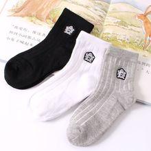 2016 Free Shipping Student Socks Kids Boys Girls Sport Socks Casual Cotton Simple Socks meias infantil sokken Black 3-11 Years