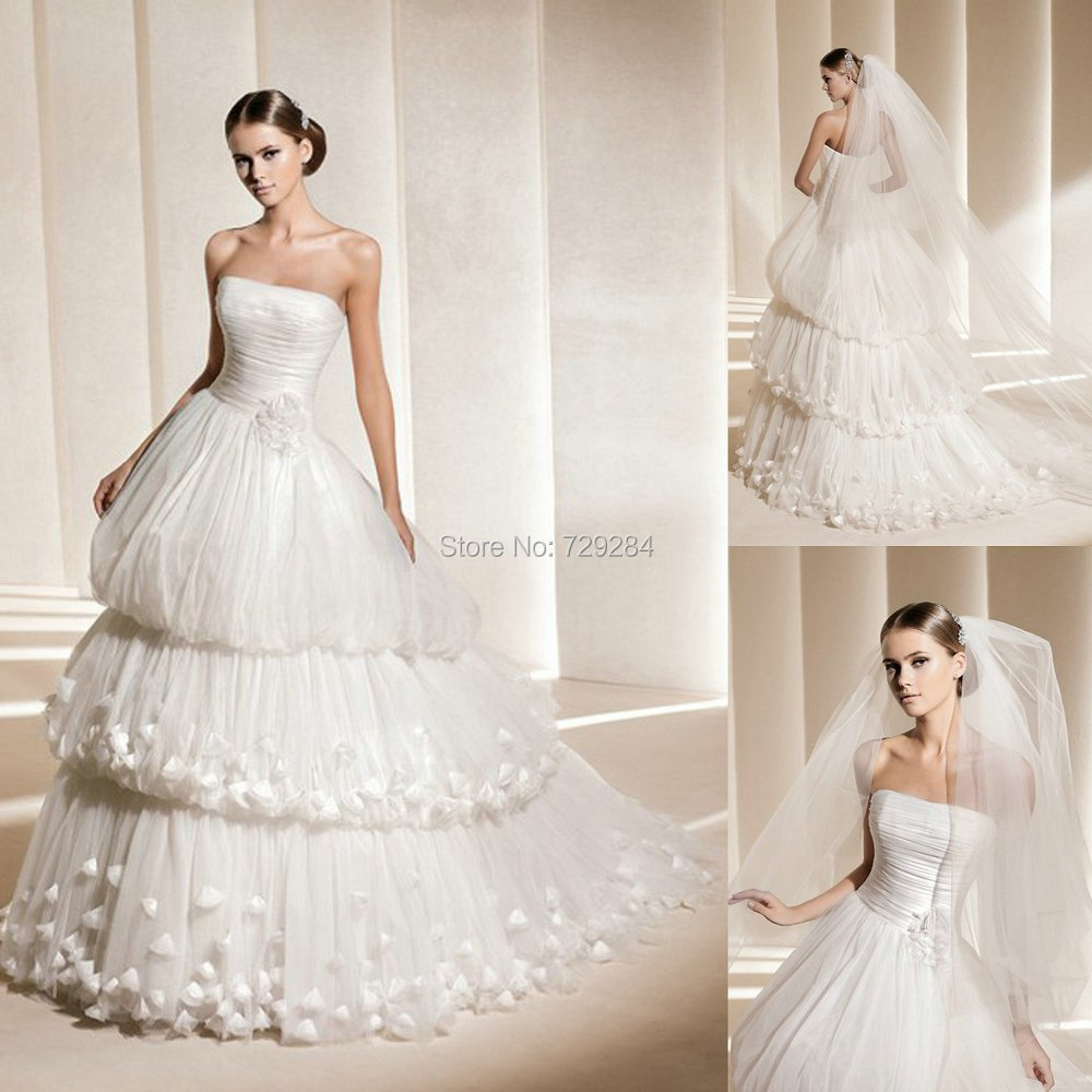 Layered Tulle Wedding Dresses : Layered tulle wedding dress with florals ball gown strapless bridal