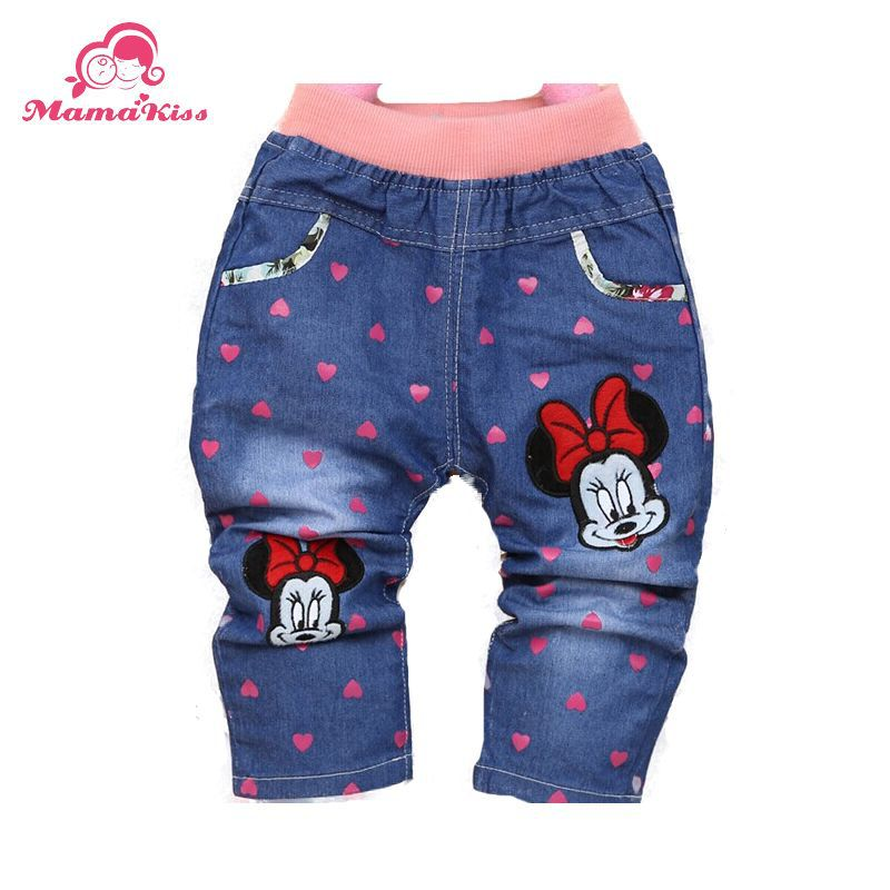 Free shipping 2015 New Spring Character Heart Printing Fashion Baby Girls Pants Trousers For 1 2 3 Years Old Baby Jeans B093(China (Mainland))