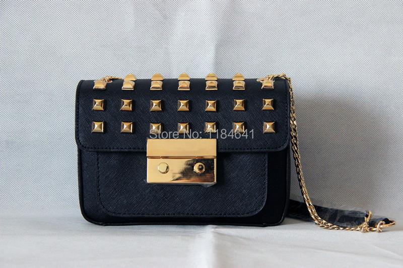 MIKAEL'S Mini Sloan Studs Flap Bag Saffiano Leather Handbag Women Messenger Bags Chains Shoulder Bag Genuine Leather Bag DUSTBAG(China (Mainland))
