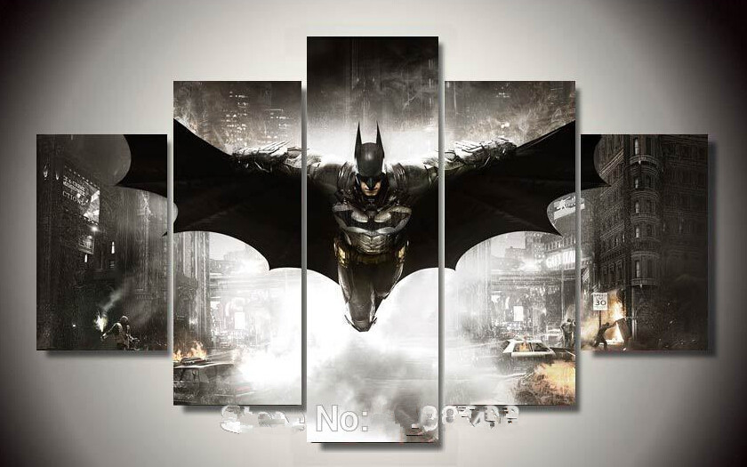 Framed Printed Batman Movie Poster 5p painting wall art children's room decor poster canvas Free shipping(China (Mainland))