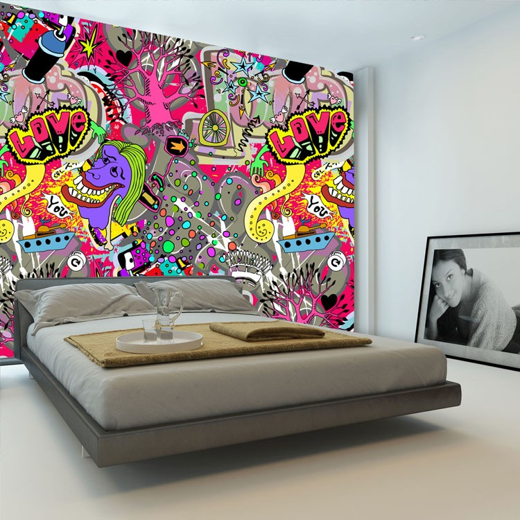 Popular urban art wallpaper buy cheap urban art wallpaper lots from china urban art wallpaper Painting graffiti on bedroom walls