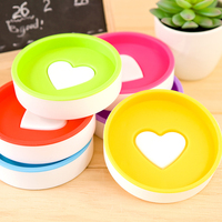 Double layer soap box fashion round style heart soap dish