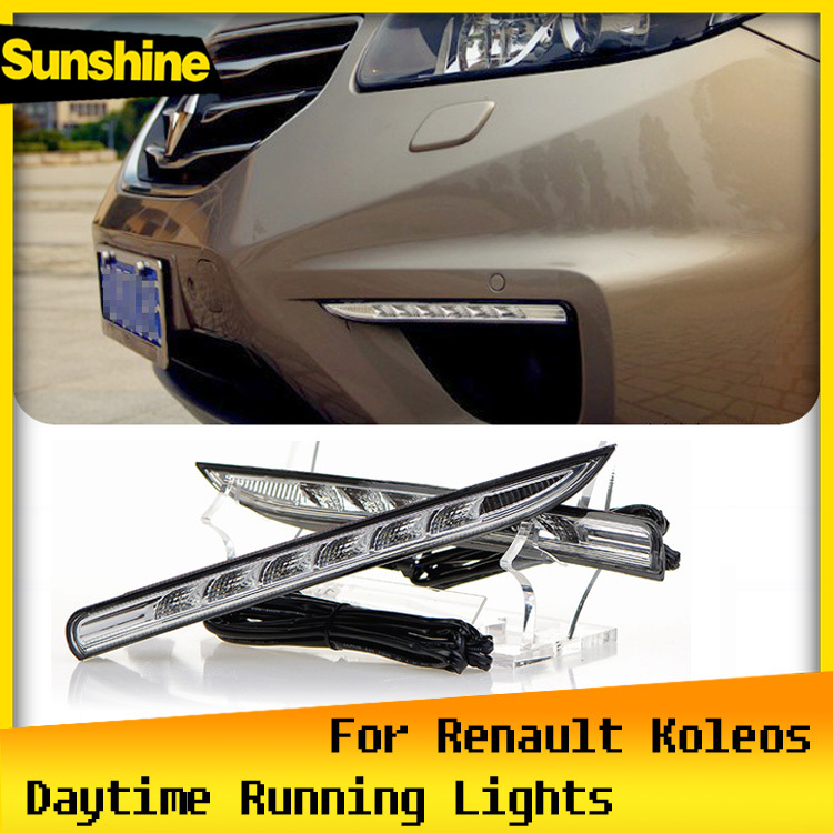 12V Car LED DRL Daytime running lights Super bright and Waterproof with Turn off style Relay for Renault Koleos 2012 2013 2014(China (Mainland))