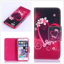 For iPhone 6 Plus/ 6s Plus(5.5″ 5.5inch) Stand Wallet Leather Case Mobile Phone Bags Cases Flowers and love with Card Holder