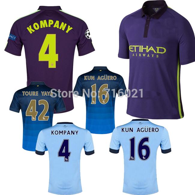 3A+++ Thai quality Manchester City 2014 JERSEY home away 3RD Third Purple 2014 15 Aguero Kompany SILVA Dzeko TOURE YAYA(China (Mainland))