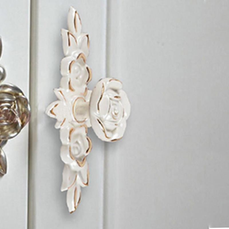Antique Cabinet Drawer Handle Gold Rose Cabinet Handle Door Drawer Dresser Cupboard Pull Handle Door Knob Artificial Ceramics(China (Mainland))