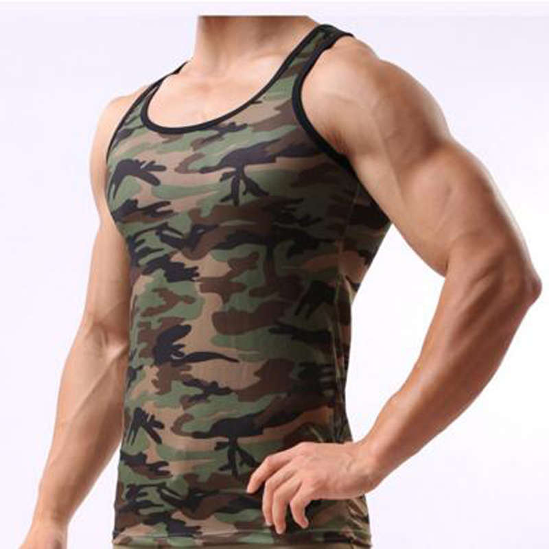 Military style camouflage vest sexy men tight Stringer Bodybuilding Training Sportsman Gym Shark Singlets Summer tank top DL2081(China (Mainland))