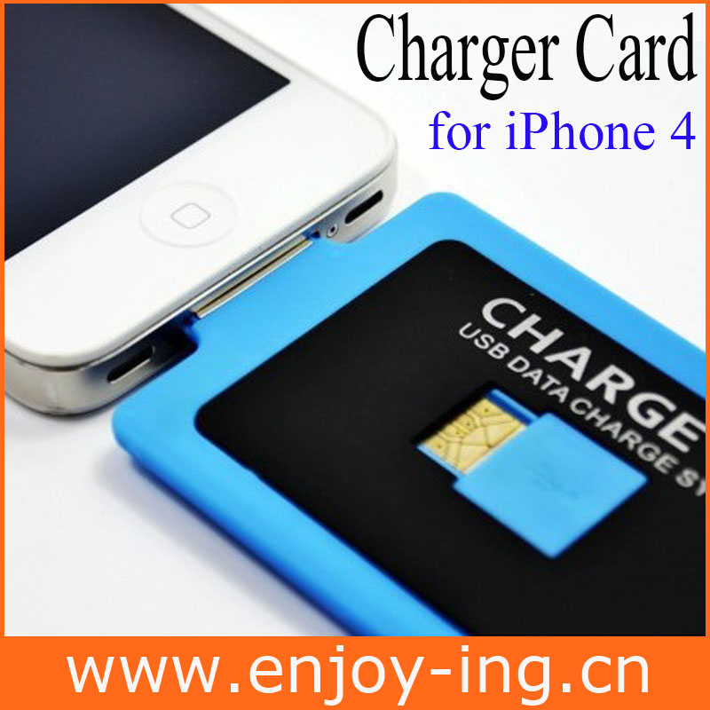 New slim Charge Card USB Data Sync Charging Cable for iPhone 4S 3 Colors Wallet Credit Wholesale Price Free Shipping(China (Mainland))