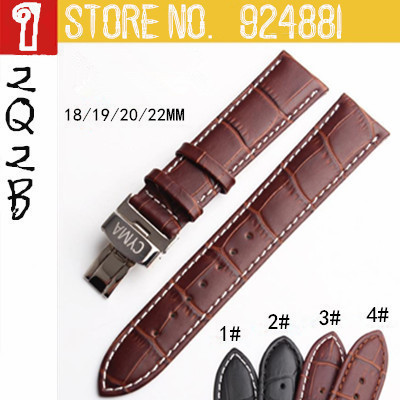18 19 20 22MM New Designed Genuine Leather Watchband,Stainless Steel Gold Butterfly Buckle,LOGO Clasp,Free Shipping<br><br>Aliexpress