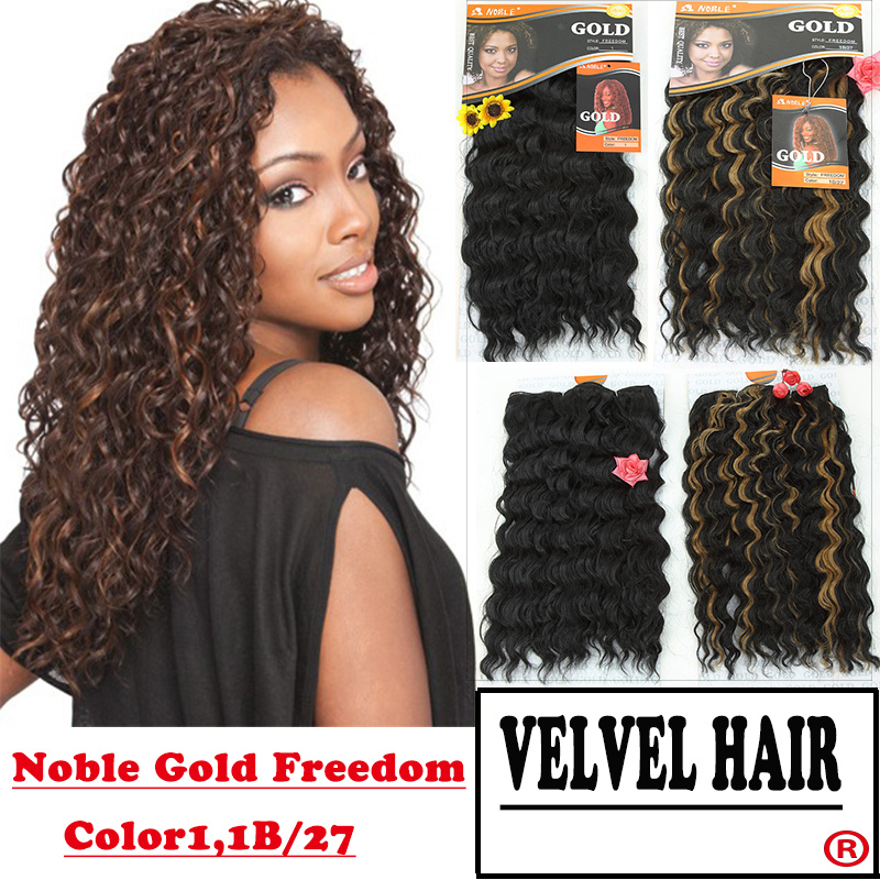 """1PC+Free Shipping Noble Gold Freedom Synthetic Hair Extensions Wavy Hair Weaving Machine Hair Weft 18"""" Color 1,1B/30 Curly Weave(China (Mainland))"""