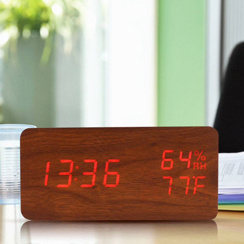 Brand New USB AAA Powered Sound Voice Control Light Digital LED Time & Temperature Humidity Display Alarm Clock Wood Desk Clock(China (Mainland))