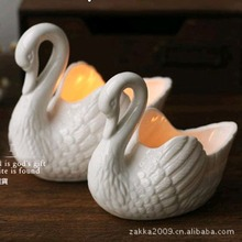 Free shipping New 2016 Zakka Ceramic Swan Candlestick/Candle Holders/Gifts for girls/ceramic storage box/Home decoration(China (Mainland))
