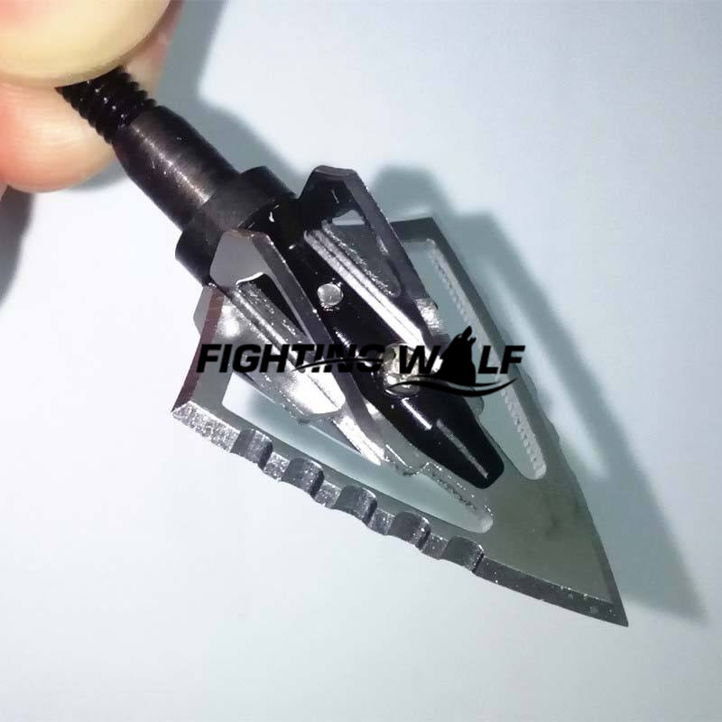 3pcs lot Outdoor Hunting Accessory Black Silver Fighter Style Blade Broadhead Sharp Archery Arrow Head Hunting