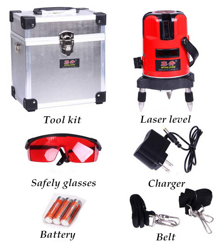 high quality cross line laser level 360 rotary laser line leveling with outdoor model can be used with outdoor receiver TJ-3(China (Mainland))