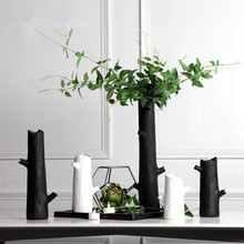 new handmade black and white tree branch shape creative vase and candle holder resin ornaments home decorations office ornaments(China (Mainland))