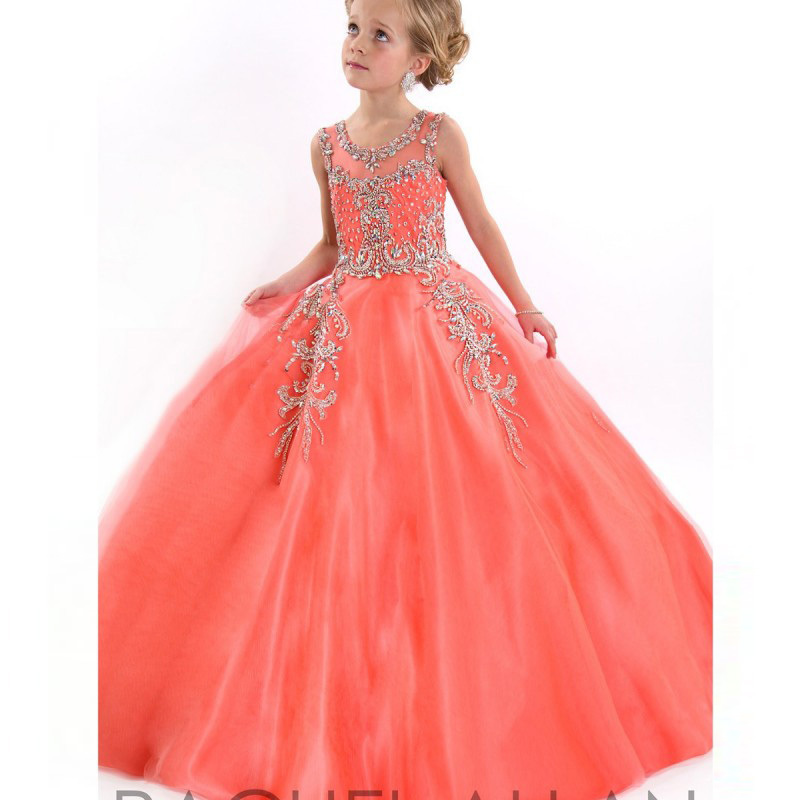 Sheer Strap Beaded Child Ball Gown Flower Girl Drses Beautiful Coral Little Girls Pageant Dress 2015 Vestidos daminhas infantil(China (Mainland))