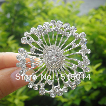 Free Shipping ! Round Rhinestone Brooch With Pin .Price Negotiable for Large Order