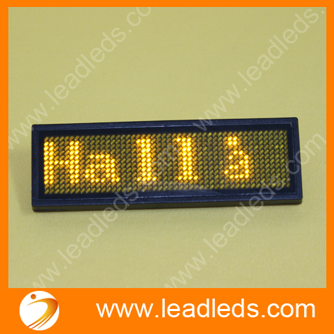 Yellow Led Name Badge sign scrolling message advertising display / business card show tag /Rechargable+Programmed(China (Mainland))
