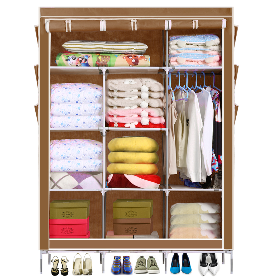 5 Color Homdox Portable Closet Storage Organizer Wardrobe Clothes Rack With Shelves Cover Pockets Shipping From US(China (Mainland))