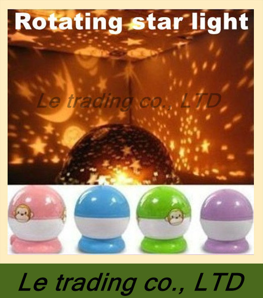 Rotation Starry Star Moon Sky Romantic Night Projector Light Lamp,4 kinds of color-- In Stock ,Free shipping