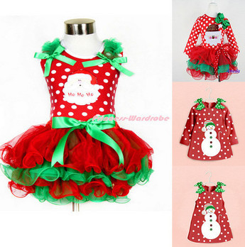 Гаджет  New Baby Girls Xmas Dress Merry Christmas Dresses Kids Cotton Santa Claus&Snowman Tutu Dress Children party dress Clothing None Детские товары