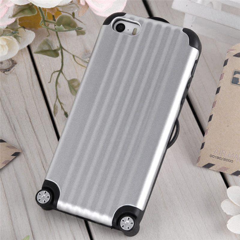 """Fashion Phone Hard Case Back Cover for iPhone 5/5S/SE/6/6s 4.7 6/6S Plus 5.5"""" Silicone+PC Travel Luggage Suitcase Type Cover(China (Mainland))"""
