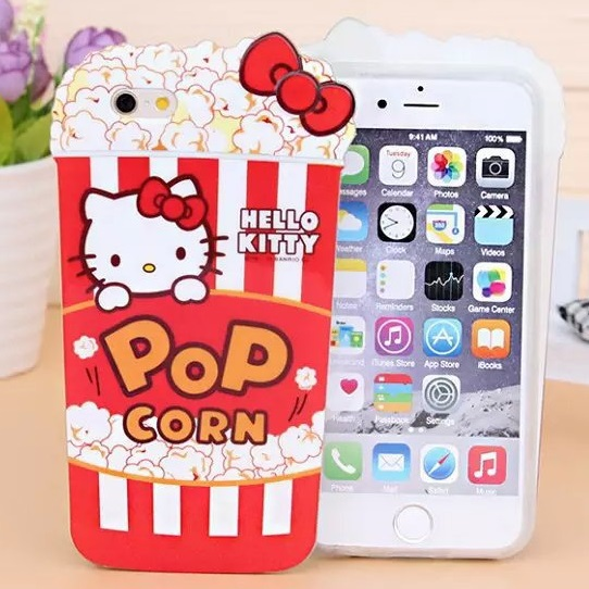 3D Hello Kitty Popcorn Soft Silicone Case For Iphone 6 6G 4.7 / Plus 5.5 / 5 5G 5S Rubber Cute Fashion KT Bowknot Cover 10pcs(China (Mainland))