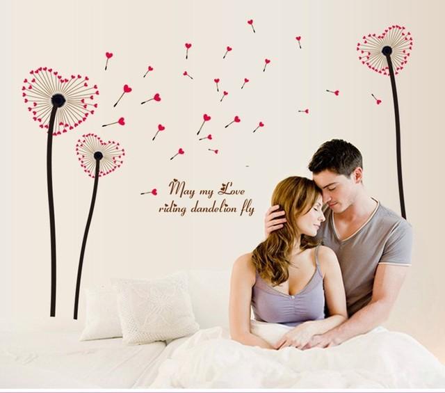Новый съемный любовь сердца цветы уолл цитата наклейки домашнего декора наклейки на стены настенной росписи искусства для гостиной 6026
