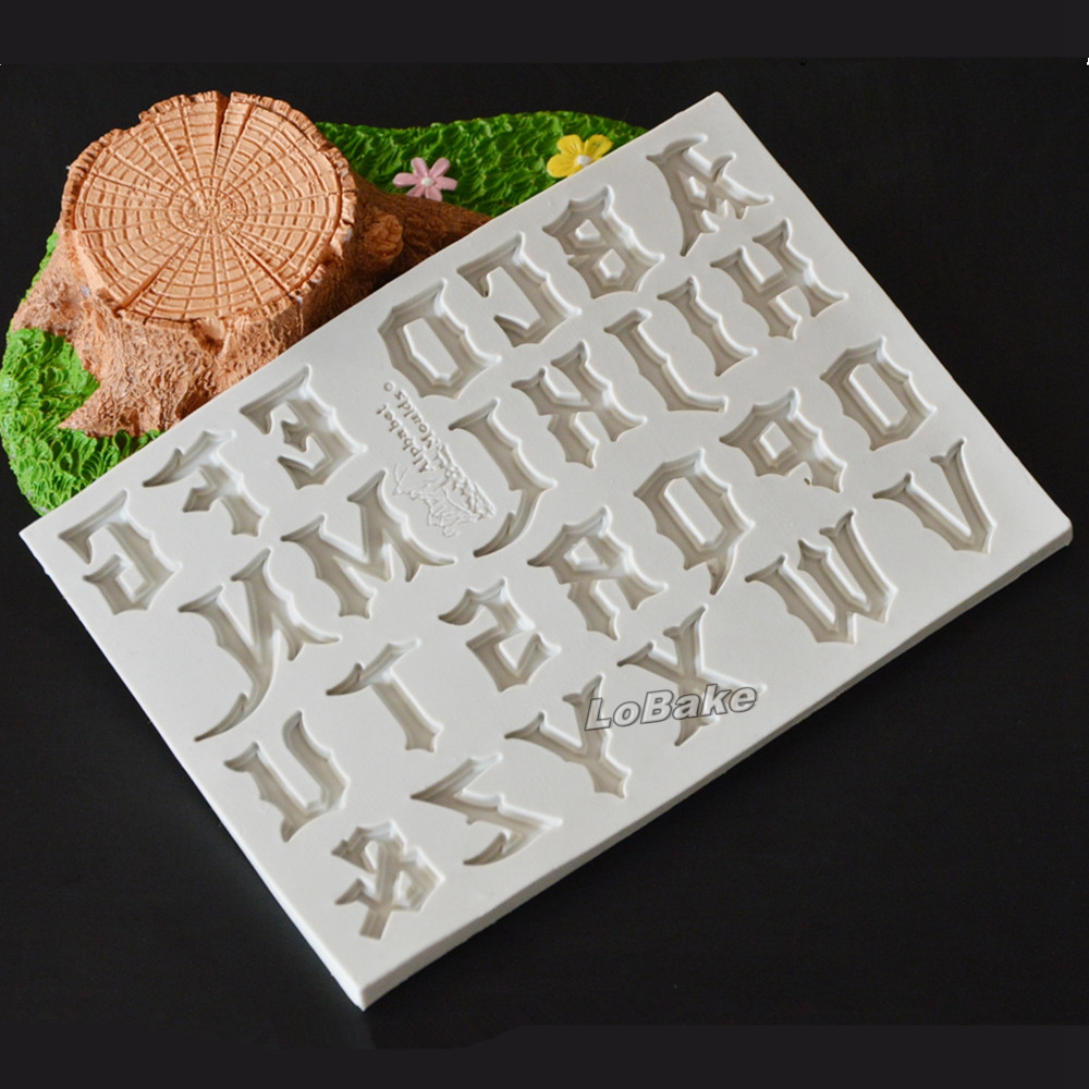 new 15510508cm capital gothic type english letter a z shape silicone fondant