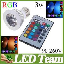 Memory Function 3W E26 GU10 MR16 E27 RGB LED Bulb 16 Color Change Lamp spotlight 90-265v for Home Party decoration + IR Remote(China (Mainland))