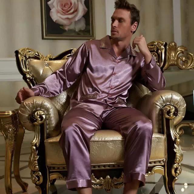 2016 Новая Мода Фиолетовый Полный Рукавом Pijamas Пижамы Имитация Шелка Пижамы Кнопка ...