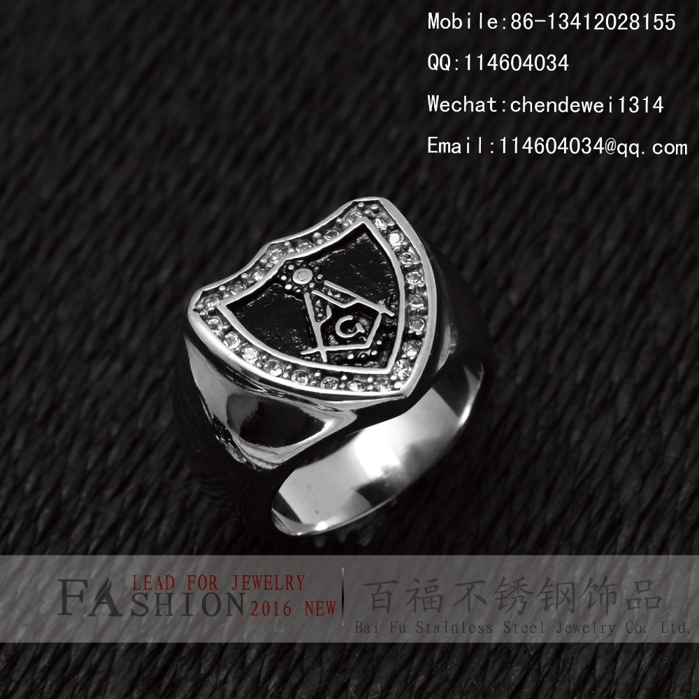 Stainless Steel Masonic Ring SZ 7-14 Freemason Master White Stone CZ Sapphire <br><br>Aliexpress