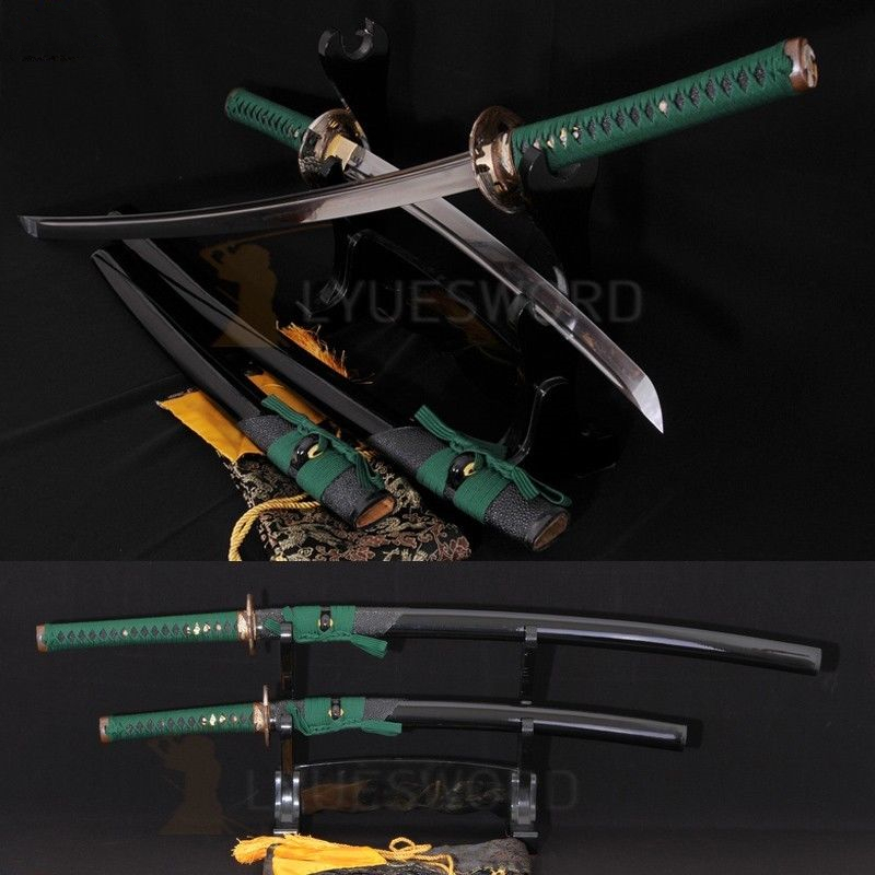 TOP QUALITY SHARP CLAY TEMPERED JAPANESE SAMURAI SWORD SET KATANA+WAKIZASHI(China (Mainland))