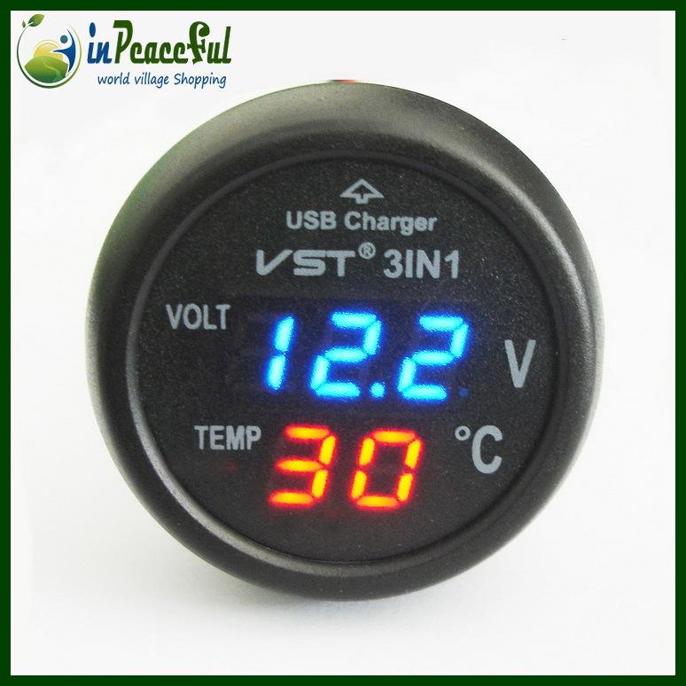 12V/24V Digital Auto Car Thermometer+Car Battery Voltmeter Voltage Meter+ car-mounted USB charger VST-706 Blue LED(China (Mainland))