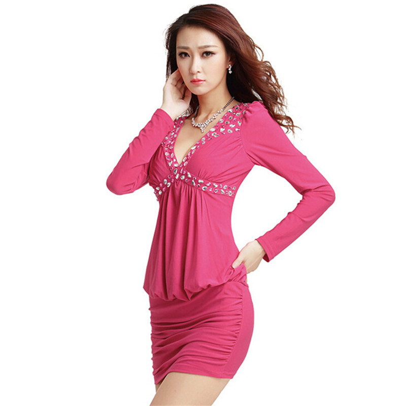 Autumn new plus size sexy club dress 2015 fashion bodycon clubwear casual women long sleeve V neck slim night clothing 4 color