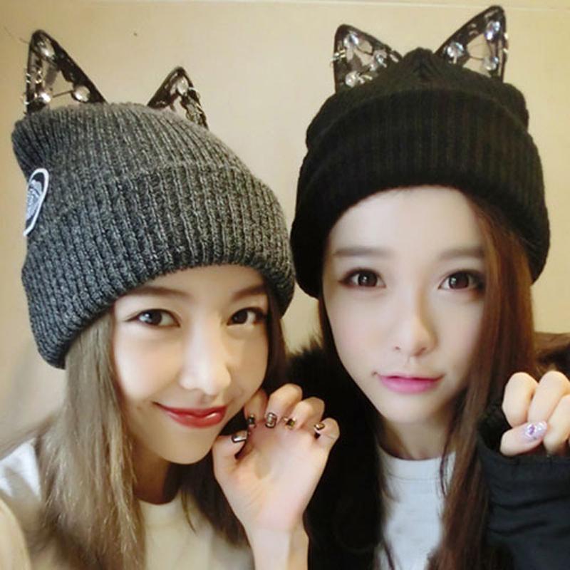 Hot Cat Beanie New Style Winter Hats with Ears Lace Rhinestone Women's Hats Thick Knitting Crochet Gorro Soft Ladies Ski Caps(China (Mainland))