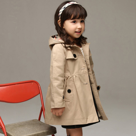 2016 new children's clothing girl spring and autumn princess coat solid color medium-long single breasted trench babys outerwear(China (Mainland))