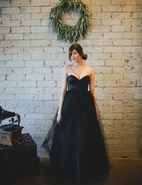 Черный готический свадебные платья бальные платья 2015 тюль изысканный без бретелек длиной до пола изображения для женщин черный свадебное платье