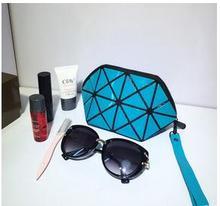WUSWUX новая мода марка Складной пвх косметичка решетке алмаза женщины путешествия косметический мешок устроителя макияж случай сцепления 18 цветов(China (Mainland))