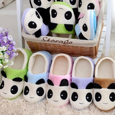 Lovely Eva content panda shoes home couple cotton mop indoor non-slip floor fluffy cotton shoes for men and women(China (Mainland))