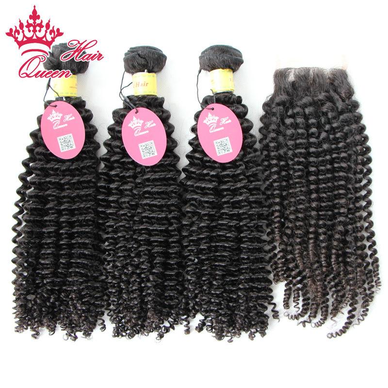 Queen Hair Products 3 Bundles Peruvian Virgin More Wavy Human Hair with Closure, 6A Peruvian Virgin Hair with Closure Free DHL