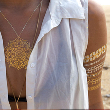 Metallic Gold Silver Necklace Bracelets Flowers Body Art Temporary Tattoo Sexy Non Toxic Flash Tattoos Sticker