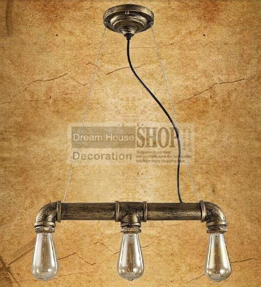 Фотография Free shipping 3 head brass or black finished lamps Loft style retro restaurant bar lighting industrial pipe series