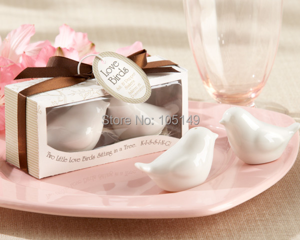 50pcs/lot(25boxes) Quality Promise 2015 Unique Wedding Gift of Love birds ceramic salt and pepper shakers Wedding favors(China (Mainland))